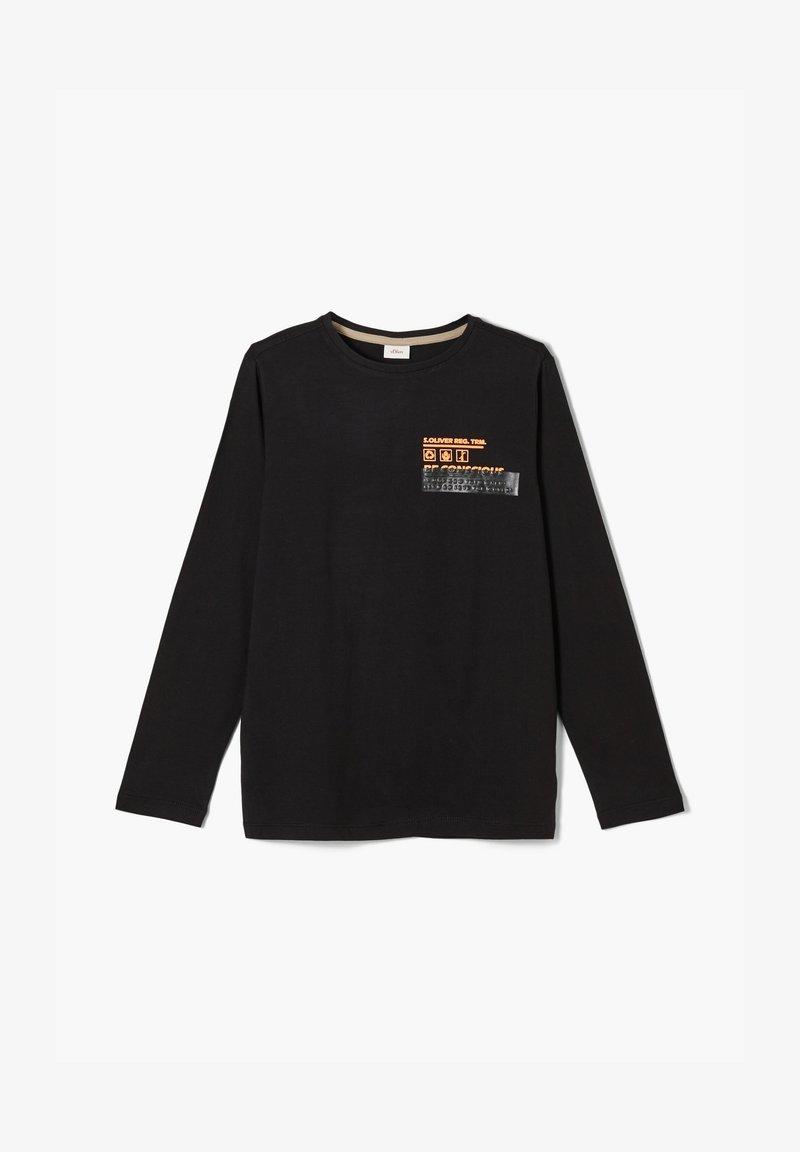 s.Oliver - MIT SCHRIFTPRINT - Long sleeved top - black