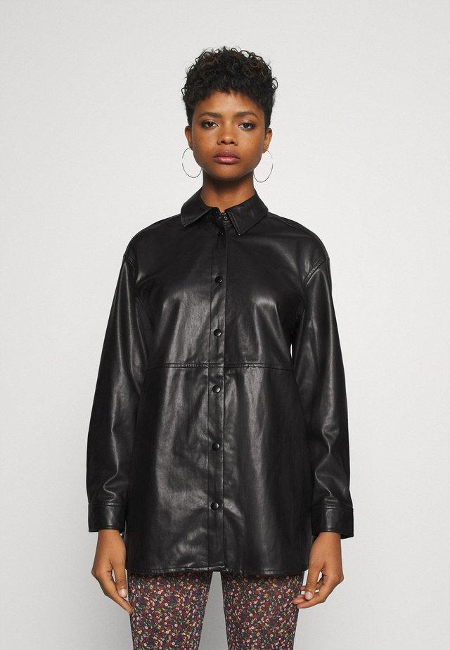 BYDAKE - Imitatieleren jas - black