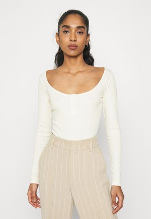 BUTTON UP BODYSUIT - Top s dlouhým rukávem - offwhite