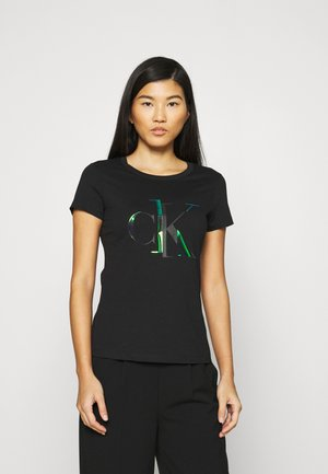 DISTORTED IRIDESCENT TEE - T-shirts med print - black