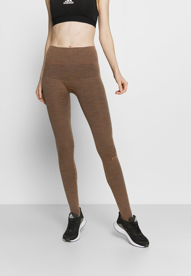 Leggings - black/beige