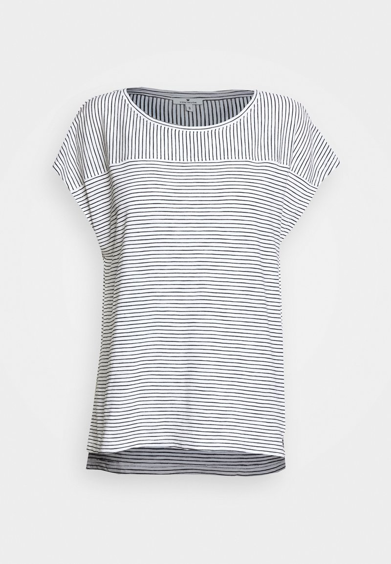 TOM TAILOR - STRIPED - Print T-shirt - offwhite