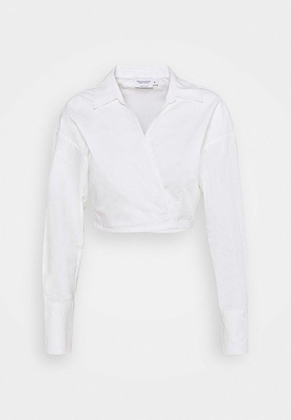 NA-KD MATHILDE GØHLER X CROPPED TIE WAIST - Bluzka - white/biały YTTZ