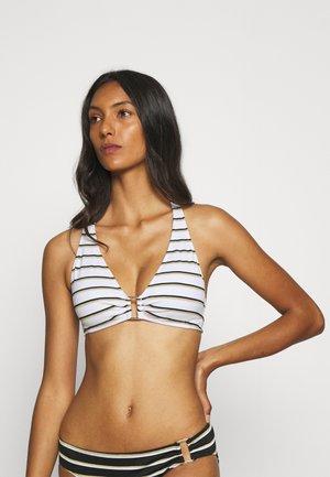 RING FRONT HALTER - Bikini top - white