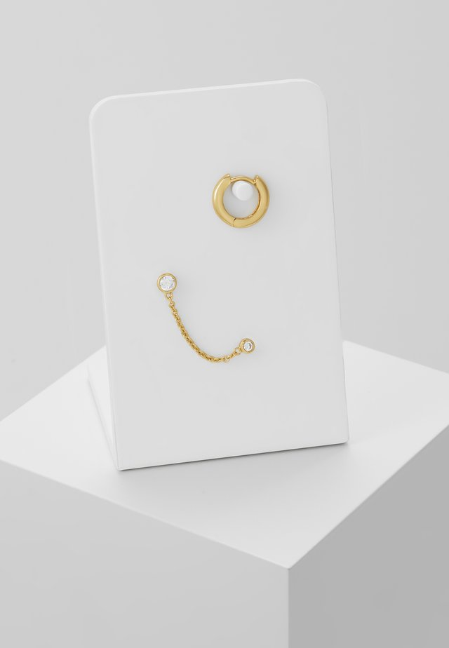 DOUBLE STUD CHAIN & HOOP EAR PARTY 2 PACK  - Earrings - pale gold-coloured