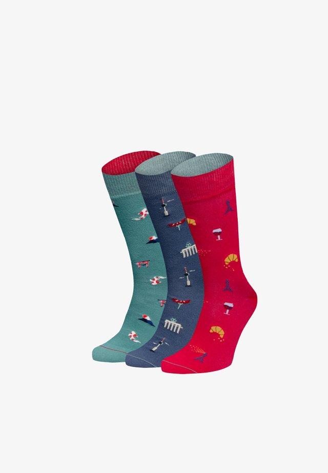 ONE WAY TICKET 3 PACK - Socks - grün,grau,blau,rot