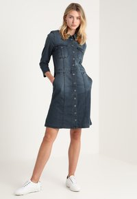 Cream - UNIFORM DRESS - Denim dress - royal navy blue - 1