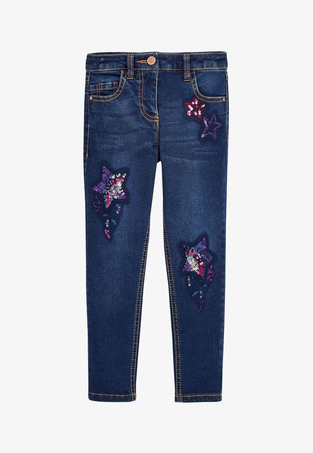 SEQUIN EMBELLISHED - Straight leg jeans - blue