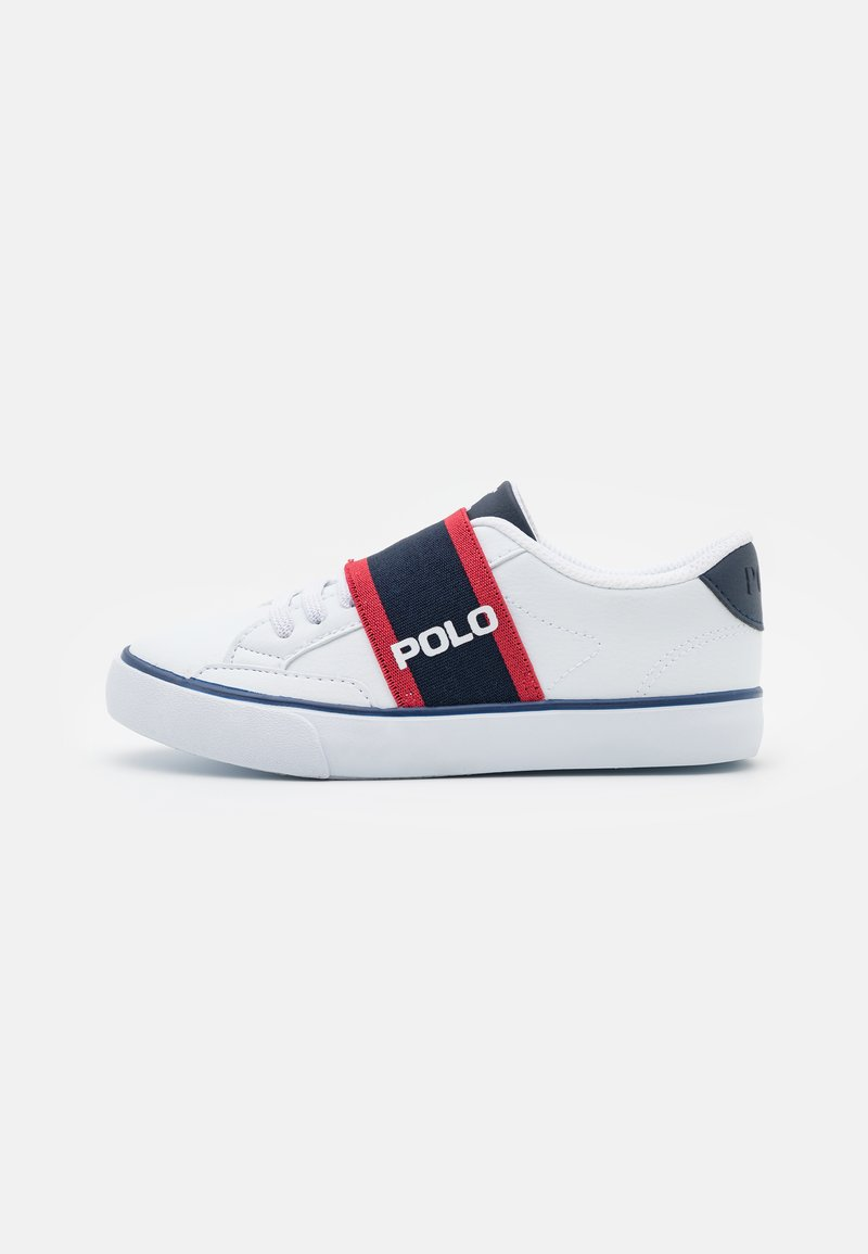 Polo Ralph Lauren - THERON UNISEX - Sneakers - white tumbled/navy/red gore