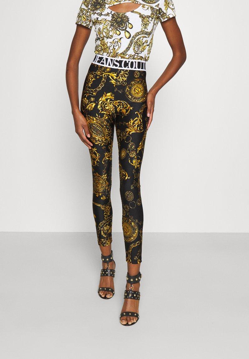 Versace Jeans Couture - PANTS - Legginsy - black/gold