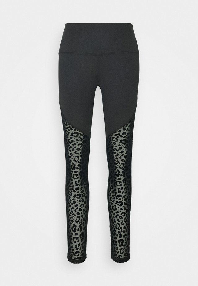 LEOPARD FLOCK LEGGING - Leggings - black