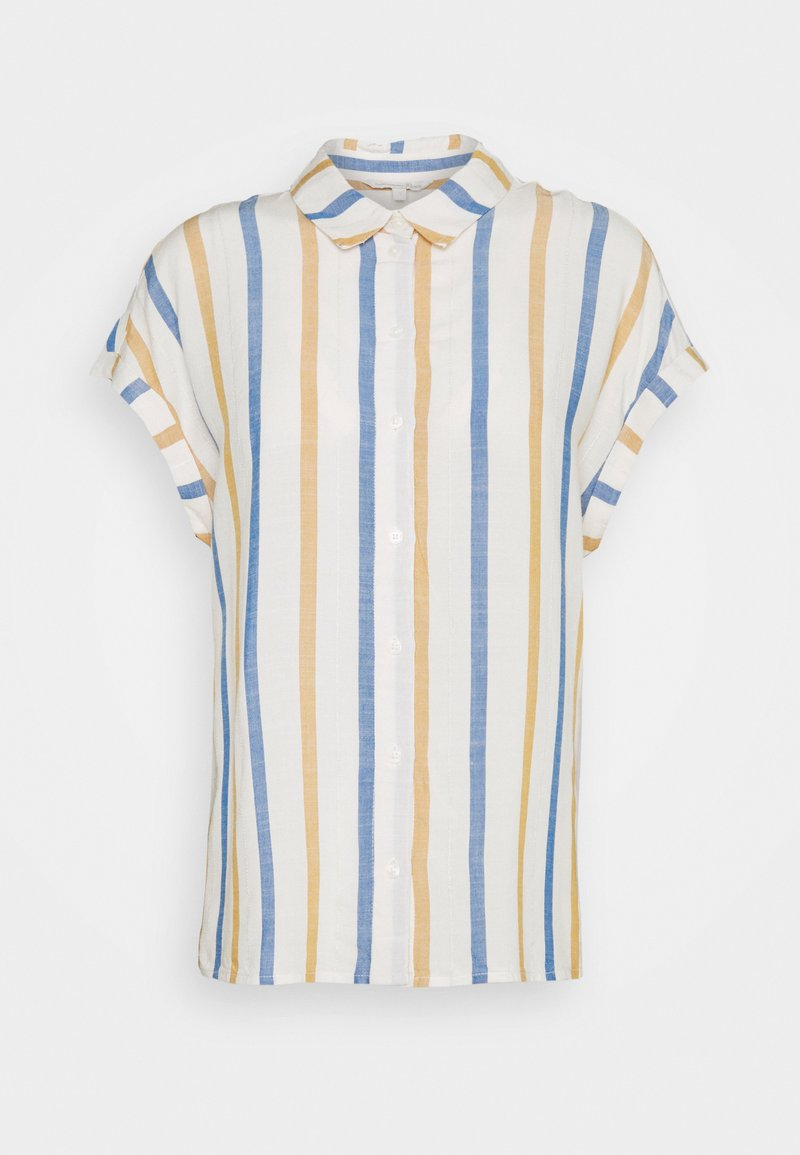 TOM TAILOR DENIM - STRUCTURE STRIPE - Button-down blouse - creme yellow/blue