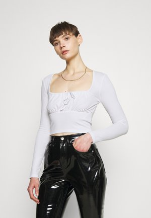 PAMELA REIF RUCHED FRONT TIE - Long sleeved top - white
