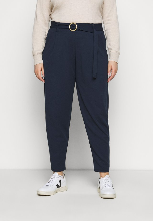 BUCKLE TRIM ANKLE GRAZERTROUSER - Trousers - navy