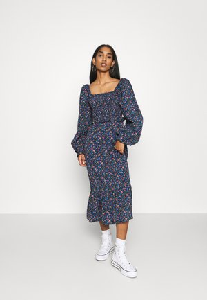 FRILL SHIRRED MILKMAID MIDI DRESS - Maxikjoler - blue