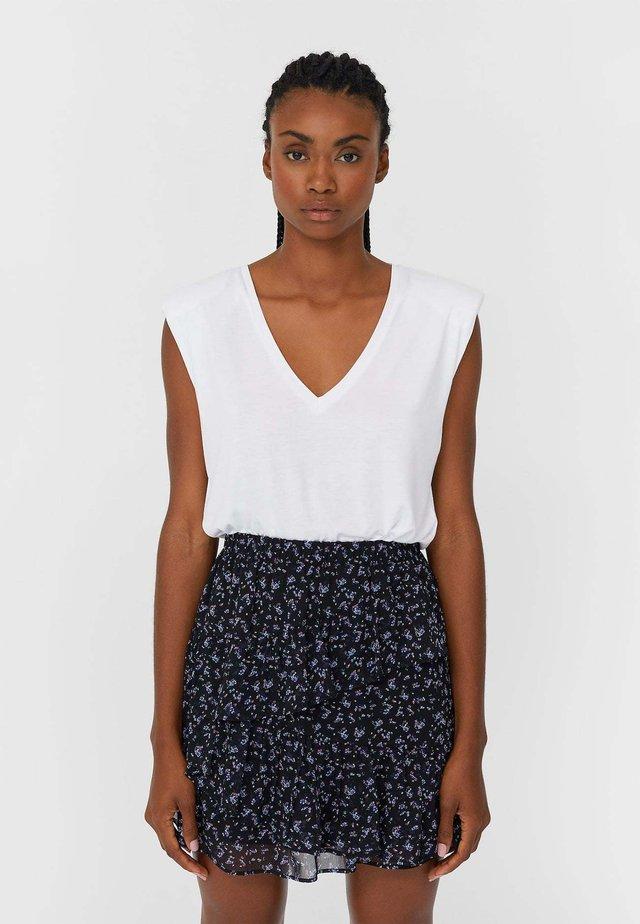 MIT VOLANTS - A-line skirt - black