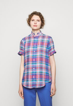 PLAID - Button-down blouse - pink/blue