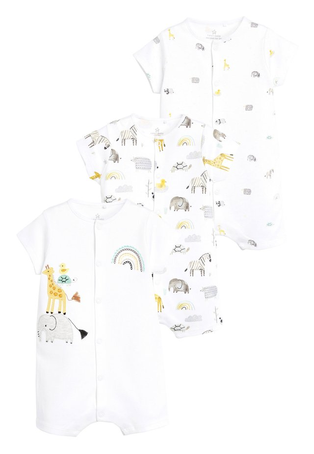 3 PACK GOTS ORGANIC COTTON ANIMAL ROMPERS - Overal - white