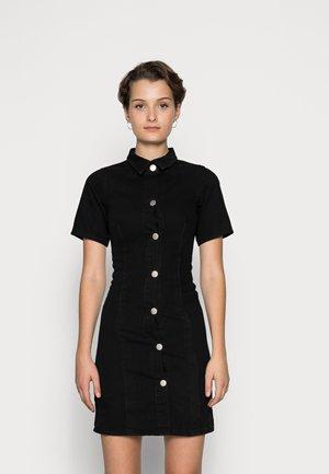 A LINE COLLARED DRESS - Denimové šaty - black