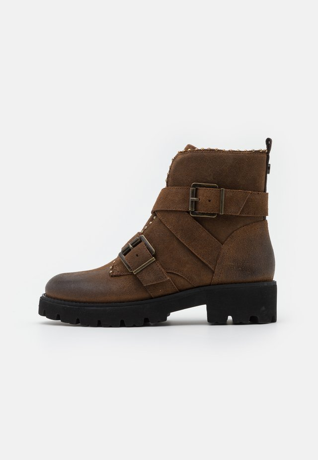 HOOFY - Stivaletti texani / biker - dark brown