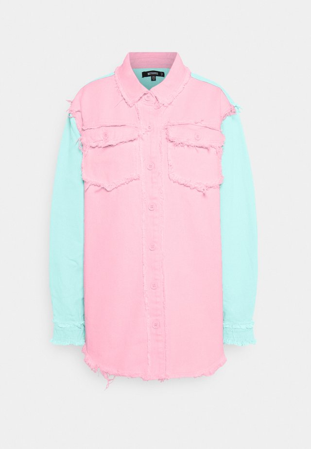 FRAYED COLOURBLOCK  - Button-down blouse - pink