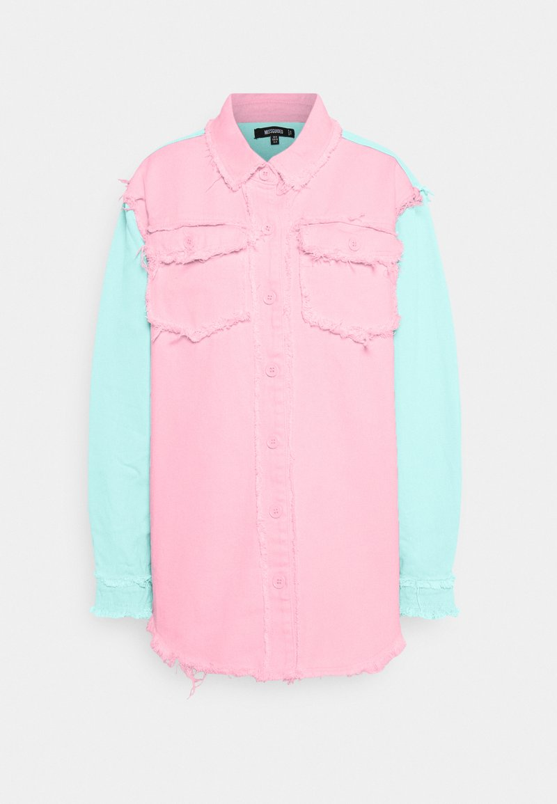 Missguided - FRAYED COLOURBLOCK  - Button-down blouse - pink