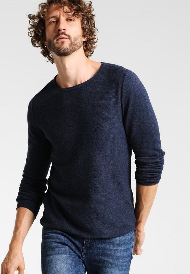CREW NECK ROUNDED HEM - Pullover - blue melange