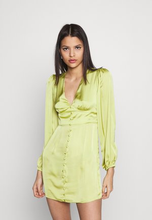 CARE BUTTON THROUGH MINI DRESSES WITH VOLUME LONG SLEEVES AND LO - Koktejlové šaty / šaty na párty - olive green