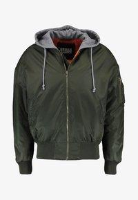 Urban Classics - HOODED OVERSIZED  - Bomber Jacket - oliv/grey - 5