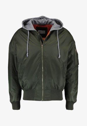 HOODED OVERSIZED  - Bomber Jacket - oliv/grey