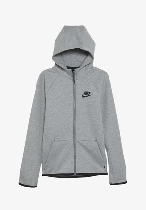 TECH FLEECE ESSENTIALS - Huvtröja med dragkedja - dark grey heather/black