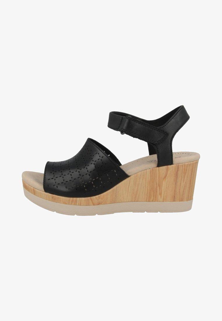 Clarks - CAMMY GLORY - Sandály na klínu - black
