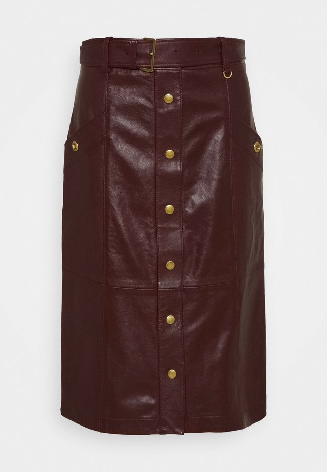 SNAP FRONT  - Leather skirt - espreso