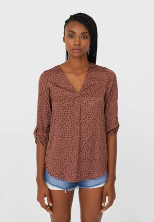 MIT V-AUSSCHNITT - Long sleeved top - brown