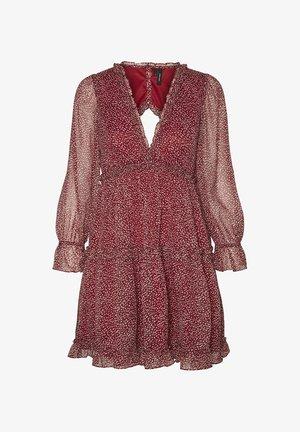 V NECK SHORT - Day dress - tibetan red