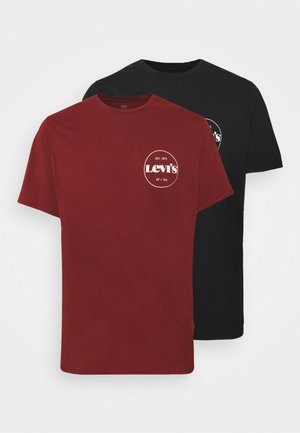 BIG GRAPHIC TEE 2 PACK - Print T-shirt - madder brown/caviar