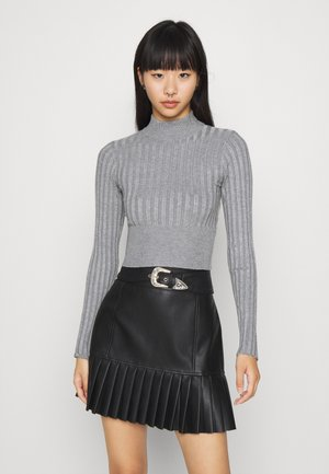 CROPPED WIDE RIB - Jumper - mid grey melange