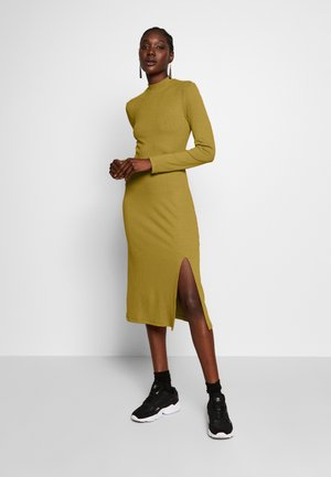 RIB PERKIN NECK DRESS WITH HIGH  - Korte jurk - oliv