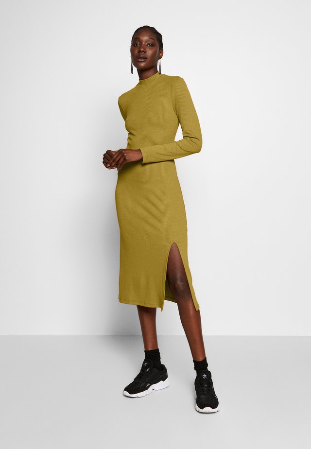 RIB PERKIN NECK DRESS WITH HIGH  - Vestido informal - oliv