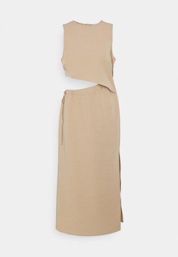 DRAWSTRING CUT OUT DRESS - Denní šaty - beige