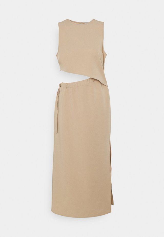 DRAWSTRING CUT OUT DRESS - Korte jurk - beige