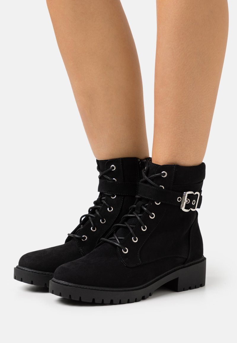 Dorothy Perkins - MONA LACE UP BOOT - Lace-up ankle boots - black