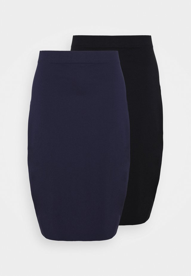 2 PACK - Pencil skirt - black/blue