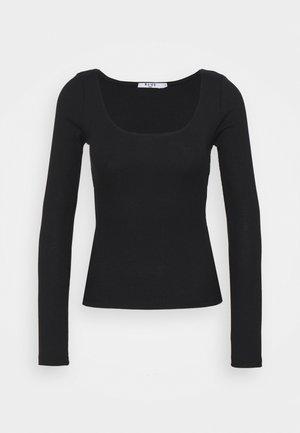 DEEP ROUND NECK  - Long sleeved top - black