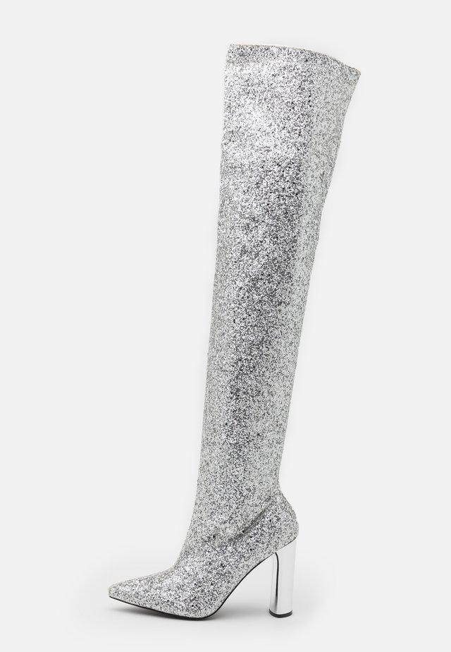 LIMA - Kozačky na vysokém podpatku - silver glitter