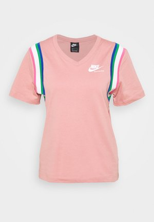 T-shirts med print - rust pink/white