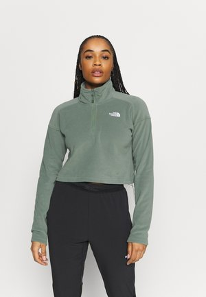 GLACIER CROPPED ZIP - Fleecepaita - agave green