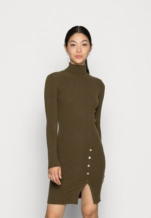 VMABBA BUTTON ROLL NECK DRESS - Jumper dress - dark olive gold buttons