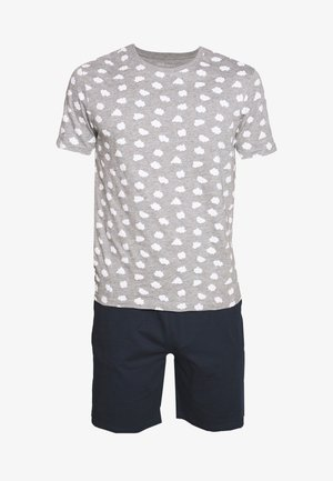 Pyjama set - mottled grey/dark blue