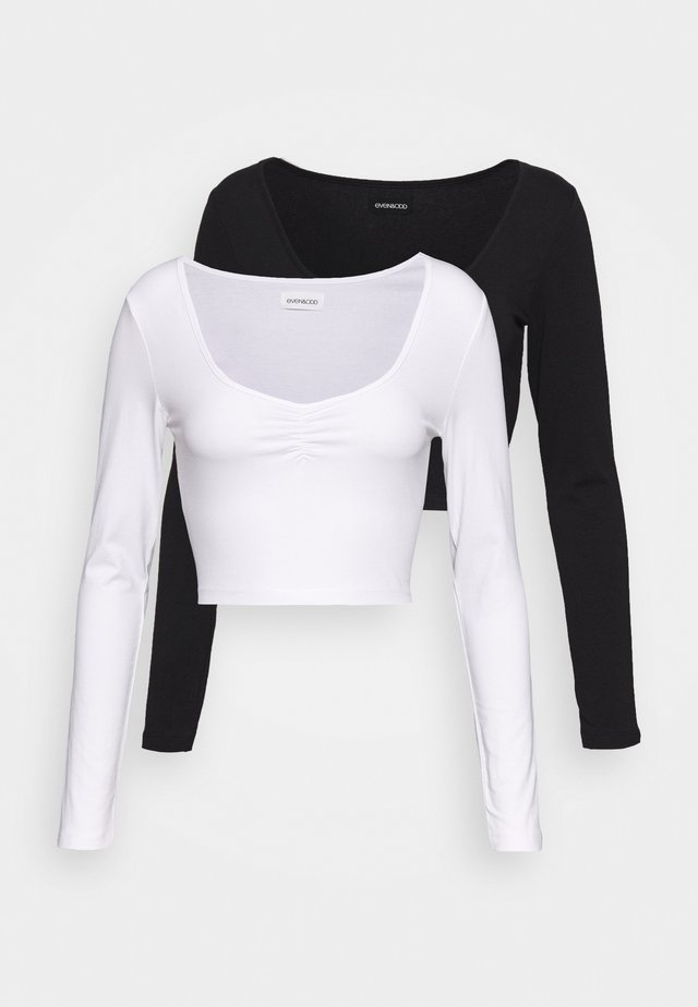 2 PACK - Long sleeved top - black/white